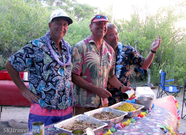 Our Centennial Canoe guides about to serve our meal. Green River, Utah.