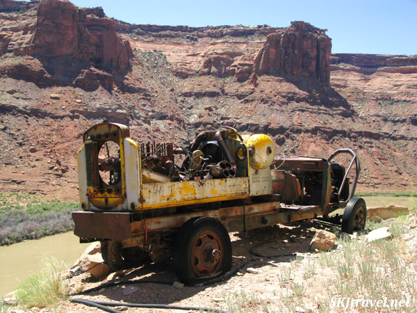 Very old truck used in mining operations at an abandoned uranium mine along the Green River, Utah.