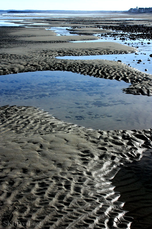 Tide pools and ripples in the sand, Maine. Photo by Shara Johnson