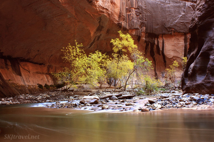 Sand bar in the river in the narrows, Zion NP.