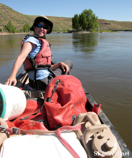 Shara takes the front of the canoe. Yampa River, Colorado.