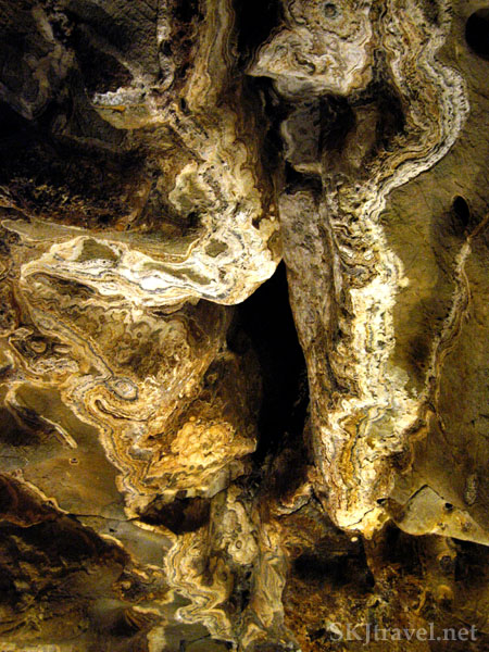 Interesting patterns in the rocks inside cave at Glenwood Caverns, Glenwood Springs, Colorado