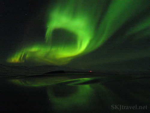 The northern Lights in a spiral outside Reykjavik, Iceland.