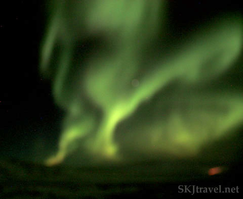 Green aurora borealis, northern lights, outside Reykjavik, Iceland. Photo by Shara Johnson