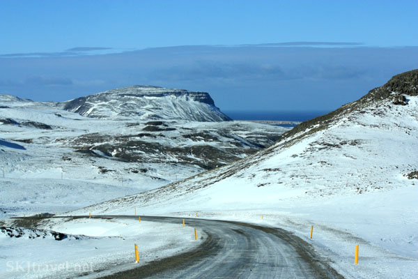 Road over a snow-covered pass on the Snaefellsnes Peninsula, Iceland. Photo by Shara Johnson